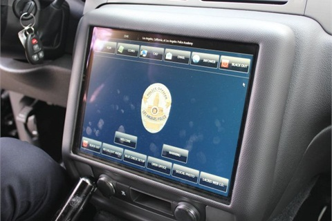 The LAPD is testing a dashboard touchscreen monitor for future patrol vehicles. Photo by Paul Clinton
