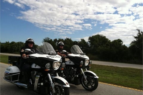 Plant City, Fla., officers on patrol on Victory Commander motorcycles. Photo courtesy Victory Police Motorcycles.