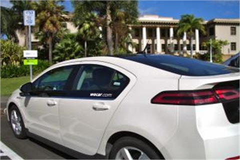 A Chevrolet Volt from the WeCar car-sharing program that the university has partnered with.