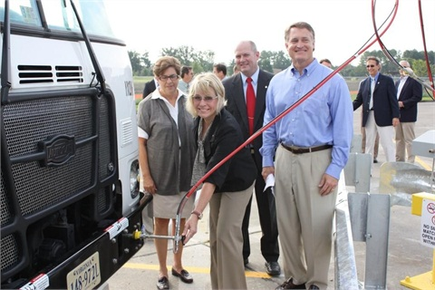 Pictured left to right celebrating the first fueling are Chesapeake council members Debbie Ritter, Suzy Kelly (fueling), Robert Ike, and Scott Matheson.