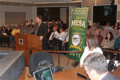 Jim Wright addresses City Council meeting attendees during a Nov. 7 meeting. He was there to present the Fleet Services Department with the crystal award for fleet certification.