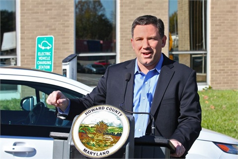 Howard County Executive Ken Ulman drove the County's first Chevrolet Volt to the ceremony. Photo courtesy of Howard County.
