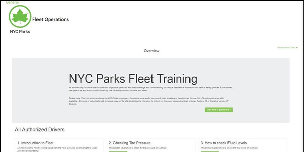 NYC Parks' new online fleet driver training program includes training videos, reading materials,...