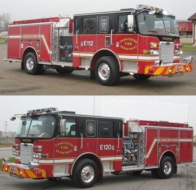 The two new engines replace existing ones, which will be going into the department's reserve fire apparatus pool. Photo courtesy Charleston, S.C. Fire Department.