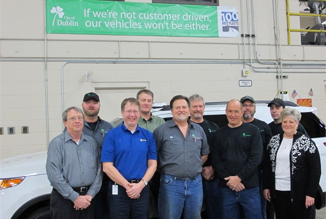 The fleet division consists of (l-r):Darryl Syler,Scott Wine,Randy Mesnard,John Hyatt,Bobby Butcher,Donnie Francis,Mike Bliss,Terry Stickel,Mark Schiering, andDebbie Commeans.Photo courtesy of City of Dublin