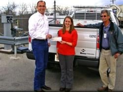 Curtis Donaldson, founder and CEO of CleanFUEL USA, presents ARRA funds to Ashley Williams, the City of Temple's Sustainability and Grant Manager, and Sam Weed, Superintendent of Fleet Services. Photo courtesy CleanFUEL USA.