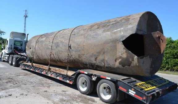 One of the undeground fuel tanks being removed in North Myrtle Beach, S.C. Photo courtesy of City of North Myrtle Beach
