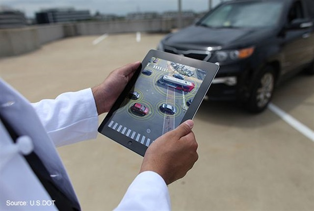 Anonymous data from connected vehicles can be used for a myriad of new safety, mobility and environmental applications. Image courtesy of the U.S. Department of Transportation