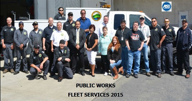The Contra Costa County Public Works, Fleet Services Division earned its ASE Blue Seal of Excellence this year. Photo courtesy of Contra Costa County