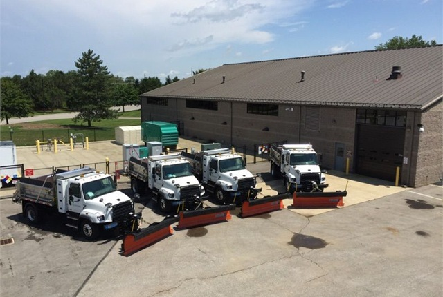 <p>The City of Dublin's green fleet includes these four compressed natural gas (CNG) powered Freightliner snow plow trucks, which replace diesel-powered vehicles.<em>Photo courtesy of City of Dublin.</em></p>