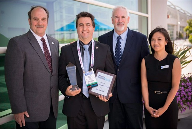Fleet managers of the 2014 Elite Fleets are pictured here with GF Managing Editor Thi Dao at GFX. Pcitred l-r are: Sam Lamerato, City of Troy; Paul Condran, City of Culver City; and John Hunt, City of Portland.