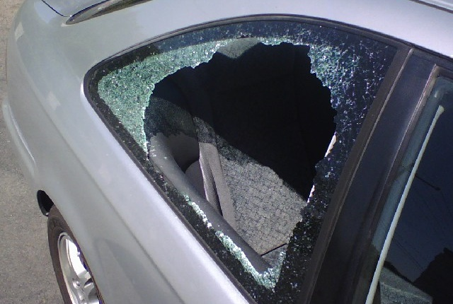Stock photo of a broken car window via Kafziel/Wikimedia