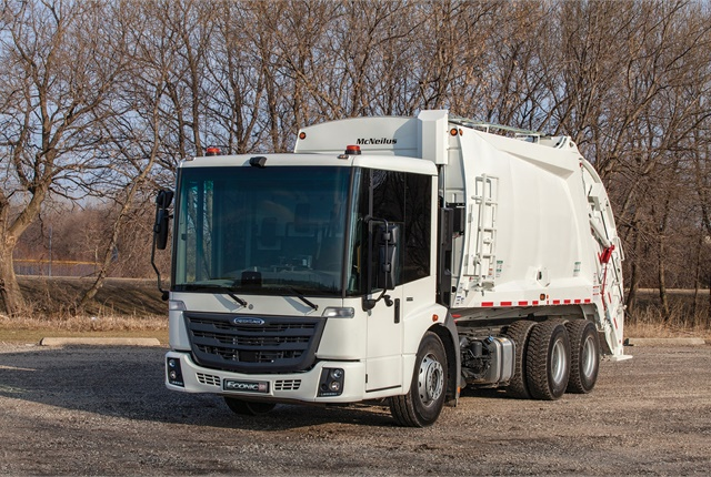 Freightliner Trucks also partnered with Heil Environmental and McNeilus Truck & Manufacturing (pictured), two truck equipment manufacturers (TEMs) in the waste collection industry. (Photo courtesy of Freightliner)