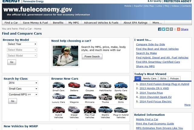 Screencapture of www.fueleconomy.gov