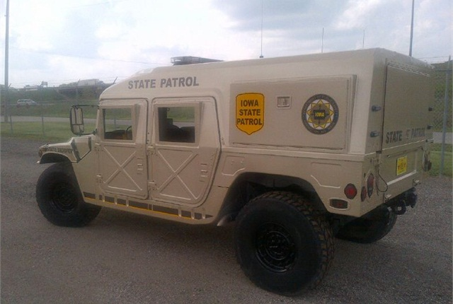 Pictured is the DPS' newly acquired Humvee ready for deployment. Photo via Iowa DPS.