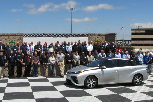 MEMA NorCal attendees awaiting their turn on the NASCAR course. Photo courtesy of David Worthington.