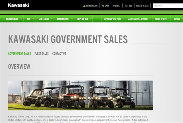 Screencapture of kawasaki.com
