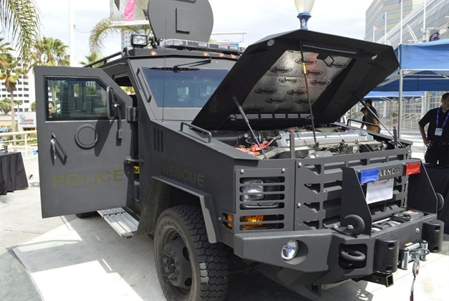 The City of Beverly Hills provided a Lenco armored vehicle for demo purposes.