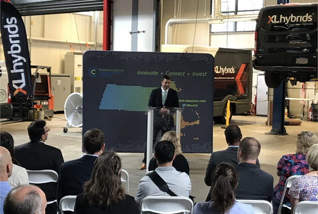 Matthew Beaton, secretary of the Massachusetts Executive Office of Energy and Environmental Affairs, shared details of the state's plan at a press conference. Photo courtesy of XL Hybrids