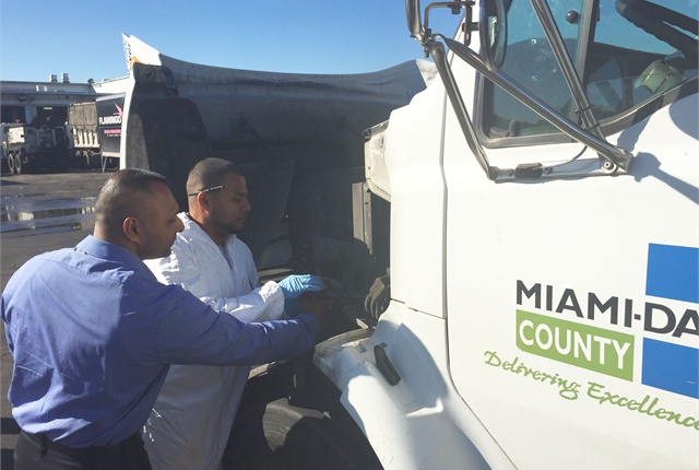 (L-R) Pictured are Pete Moolah, heavy fleet service manager, and Daniel Gasca, auto parts specialist, from the Miami-Dade Internal Services Department fleet. Photo courtesy of Miami-Dade County