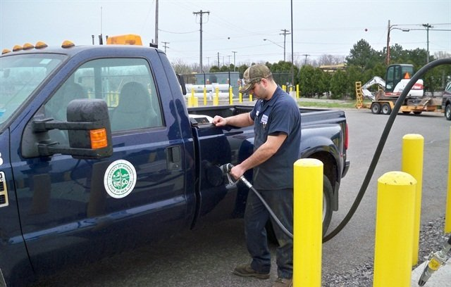 Monroe County converted one F-350 dual rear wheel pickup truck, two F-250 trucks, and an E- 350 van to propane autogas. Photo courtesy of Monroe County.