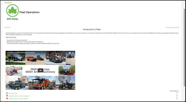 NYC Parksexpects to train 4,000 fleet drivers.Screencapture courtesy of NYC Parks