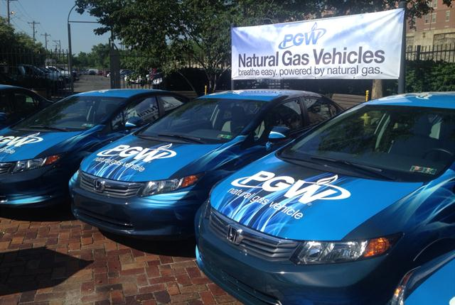 The new Natural Gas Vehicle (NGV) fleet can now be seen driving Philadelphia's roadways. Adding 24 NGVs is the equivalent of removing six vehicles from the roadway each year, according to PGW. (Photo: PGW)