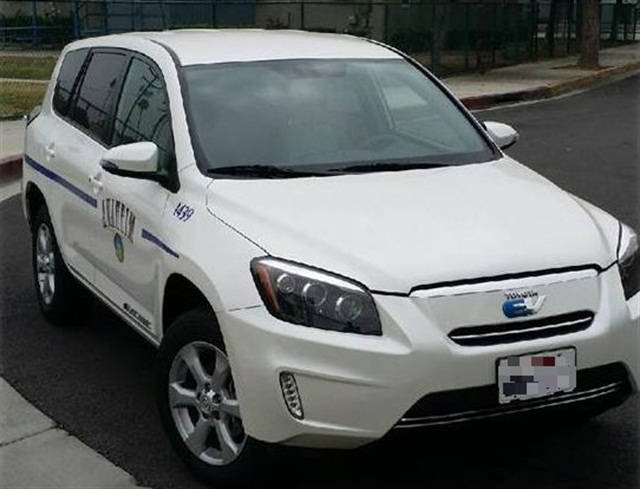 "The city's ""green"" fleet currently consists of hybrids, compressed natural gas vehicles, and electric vehicles, including this Toyota Rav4 EV. Photo courtesyof City of Anaheim"