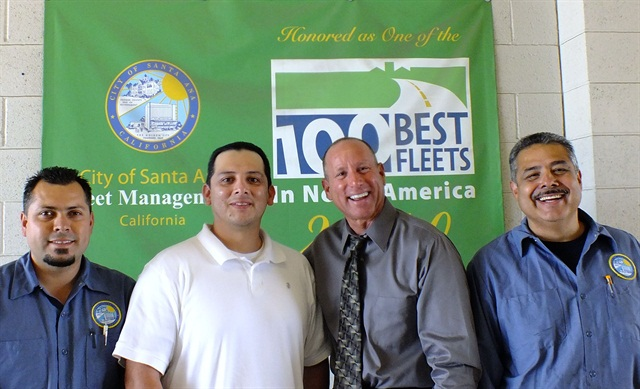 Intern Felipe Maldonado (in white) stands with fleet staff (l-r) Ulice Contreras, fleet manager Rick Longobart, and Ruben Esparza.