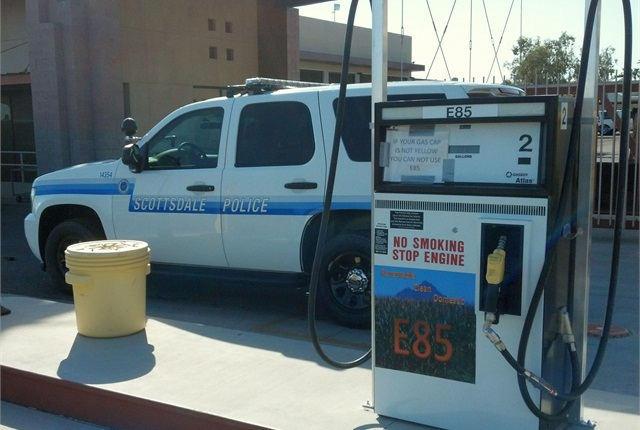 Fleet staff encourage drivers of flex-fuel vehicles to fuel with E-85. Photo courtesy of City of Scottsdale.
