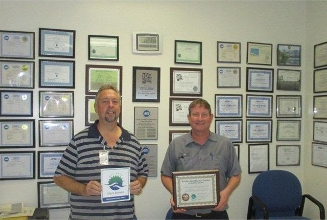 Heavy Equipment Fleet Maintenance Supervisor Jack Church (left) and Light Equipment Fleet Maintenance Supervisor Jeff Cortner (right) were instrumental in achieving the fleet's latest Green Business Certifications. Photo courtesy of Sonoma County