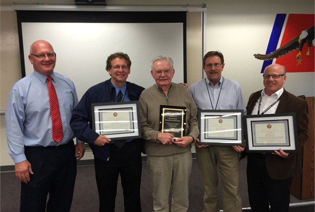 "Pictured l-r are: Chris Helgren, emergency manager of the Fire and Emergency Services Department; Gene Clark, deputy director of the General Services Department; Louis ""Pete"" Peterka; David Worthington, fleet manager; and Ed Bounoccorsi, deputy director of the General Services Department"