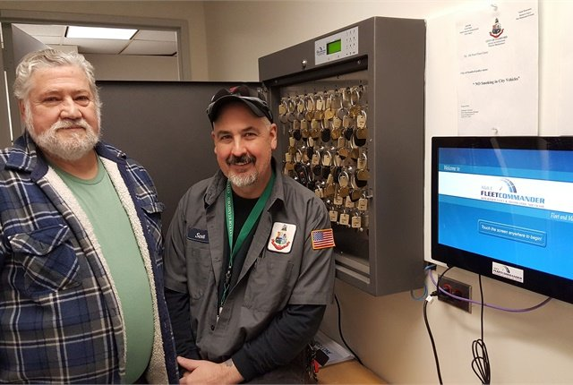 Art Zanvettor, mechanic/body man, and Scott Gerardi, parts manager, worked on automating the motor pool process. Photo courtesy of City of Stamford