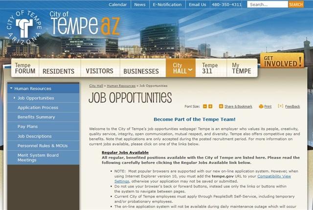 Screencapture of www.tempe.gov