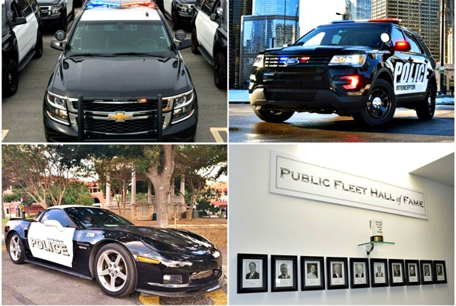 (Clockwise from top left): Chevrolet Tahoe PPV, Ford Police Interceptor Utility, Public Fleet Hall of Fame, Chevrolet Corvette Z06.