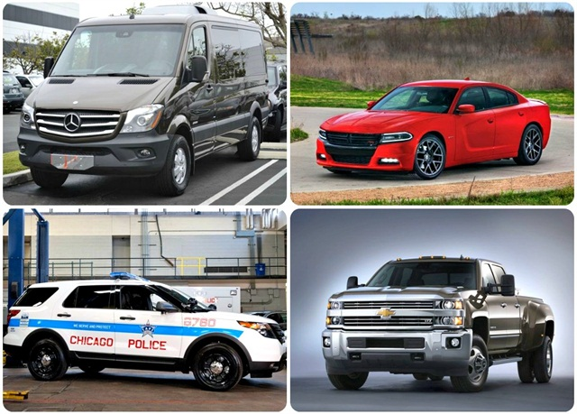 (Clockwise from top left)2014-MY Sprinter;2015 Dodge Charger; MY-2015 Chevrolet Silverado 3500HD;Chicago Police Department's P.I. Utility