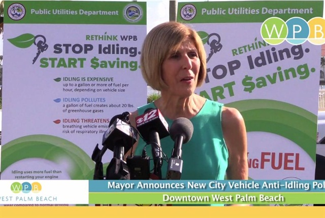 Screenshot of West Palm Beach Mayor Jeri Muoio's anti-idling announcement.