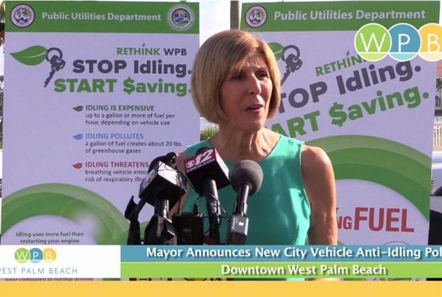 Screenshot of West Palm Beach Mayor Jeri Muoio's anti-idling announcement.