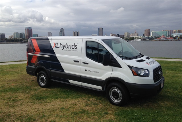 Photo of a Ford Transit Van upfitted with the XL3 Hybrid Electric Drive System courtesy of XL Hybrids.