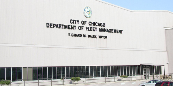 Photo of Chicago's Goose Island Fleet and Facility Management building via public domain