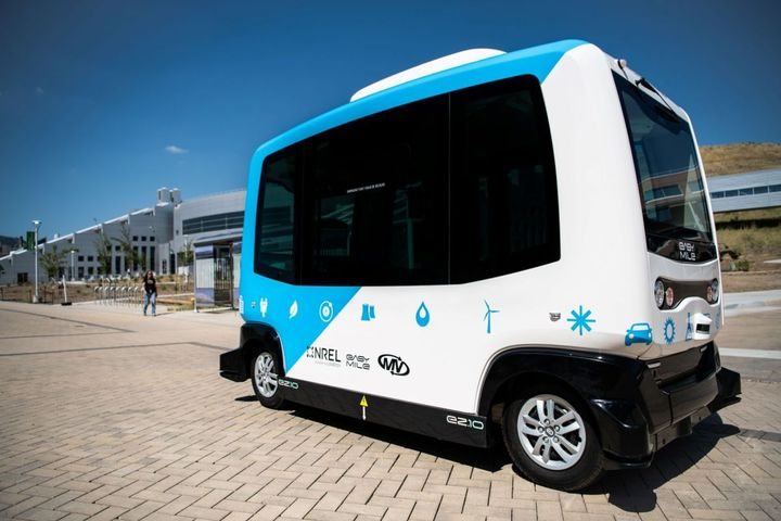 Employees at the National Renewable Energy Lab can board a self-driving shuttle to get around campus. - Photo courtesy of MV Transportation