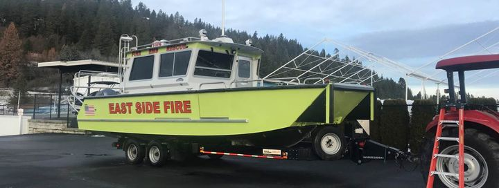 The East Side Fire District, located on the shores of Lake Coeur d'Alene in Harrison, Idaho, took delivery of this 32-foot custom-built Lake Assault Boats fireboat. 