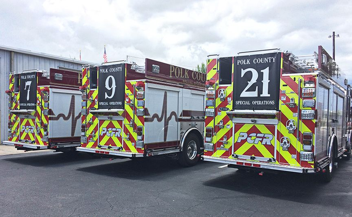 Polk County Fire Rescue's new custom rescue pumpers feature a recessed Zico overhead ladder rack for 24-foot and 14-foot ladders and rear storage tunnel for a 10-foot ladder.  - Photo courtesy of E-One