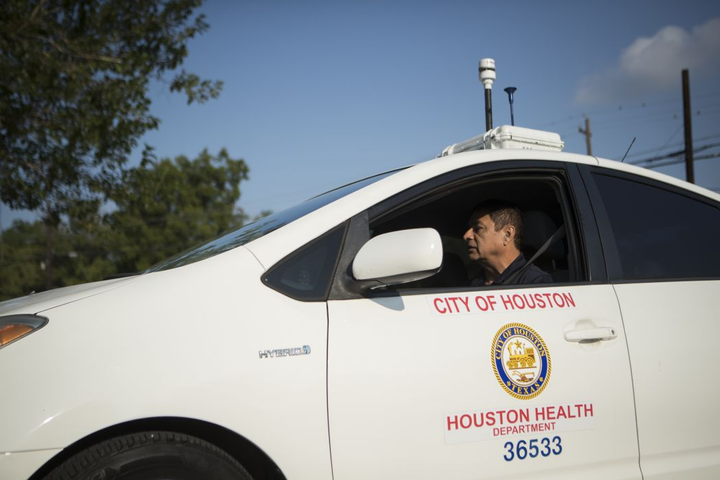 The City of Houston Health Department installed air pollution sensors on its vehicles.
