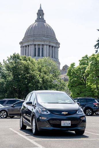 The Washington Department of Enterprise Services manages a fleet that includes 113 long-range electric vehicles, such as this Chevrolet Bolt. - Photo courtesy of Washington DES