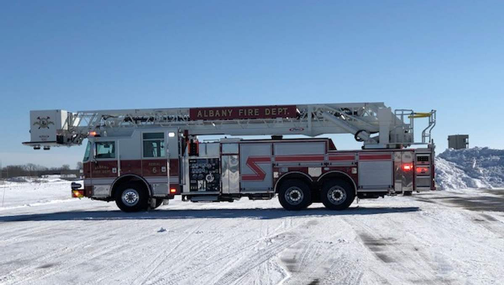 One of the new fire trucks is pictured here during testing. 