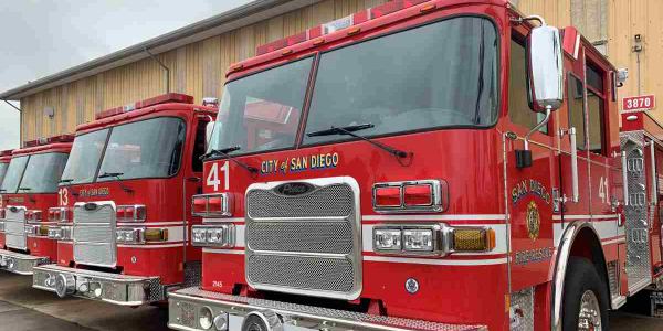 San Diego's new fire trucks will replace older ones, which will be placed on reserve duty.