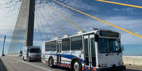 The new EMS vehicles are converted 2004 Gillig transit buses.