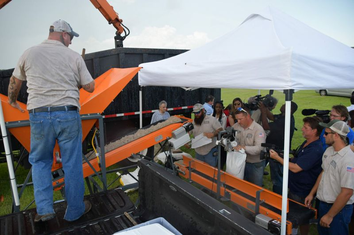Manatee County, Fla., showed off its new sandbagging machines at a media event in June.  - Photo courtesy of Manatee County