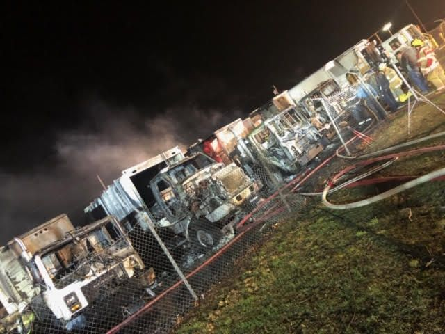 The trucks were parked in the township's public works lot.  - Photo courtesy of Mantua Township